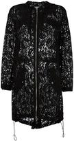 Moschino hooded zipped lace coat