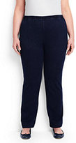 Classic Women's Plus Size Petite Sport Knit Denim Pants-Medium Indigo