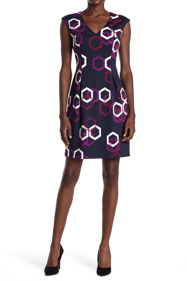 trina Trina Turk Litzy Geo Print Fit & Flare Dress