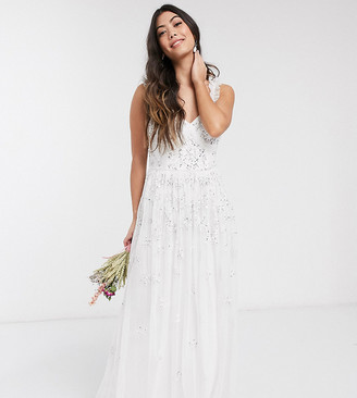 Maya Petite all over embellished maxi dress in white