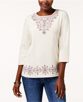 Alfred Dunner Gypsy Moon Embellished 3/4-Sleeve T-Shirt