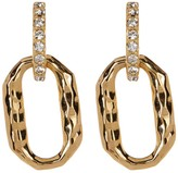 Judith Jack Gold Plated Sterling Silver Hammered Pave Crystal Earrings