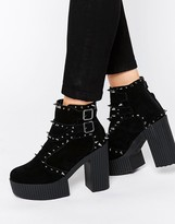 T.U.K. Yuni Spike Suede Platform Ankle Boots