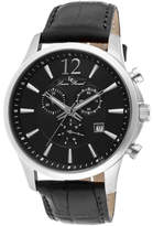 Lucien Piccard Men's 11567 - Black Leather/Black Analog Watches
