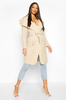 boohoo Kate Belted Shawl Collar Coat stone