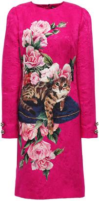 Dolce & Gabbana Button-embellished Printed Cotton And Silk-blend Jacquard Dress