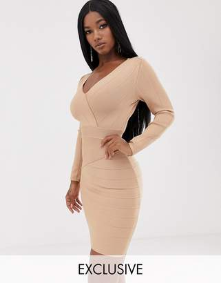 Lipsy plunge front long sleeve bandage mini dress in caramel-Beige