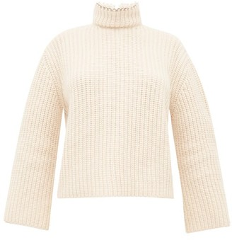 Loewe Open-back Faux Pearl-neck Ribbed Cashmere Sweater - Womens - Cream