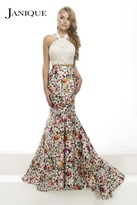 Janique - Lace Halter Trumpet Two-Piece Evening Gown with Floral Prints JA2004