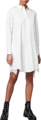 AllSaints Iris Pleat Lace Trim Shirtdress