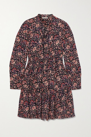 Ulla Johnson Liv Ruffled Tiered Floral-print Cotton-blend Voile Mini Dress - Plum
