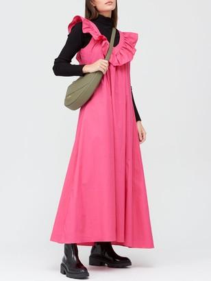 Paper London V Neck Frill Maxi Dress - Pink