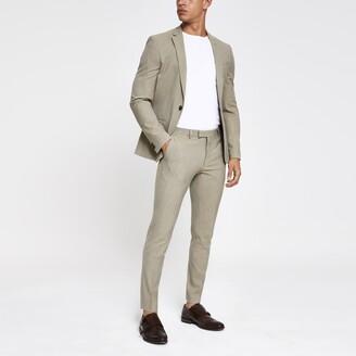 River Island Mens Ecru stripe super skinny fit suit trousers