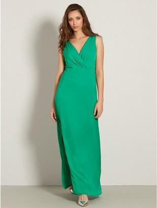 M&Co VILA satin wrap front maxi dress
