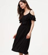 LOFT Ruffle Cold Shoulder Dress