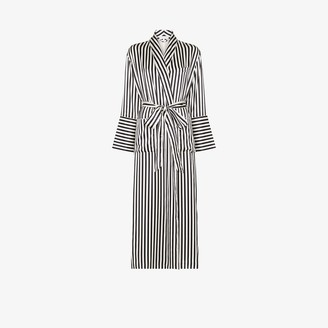 Olivia von Halle Capability long striped silk robe