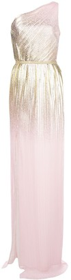 Marchesa Metallic Pleated Gown