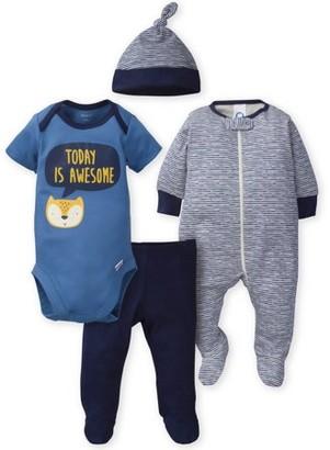 Gerber Baby Boy Onesies Bodysuit, Sleep 'n Play, Pants & Cap Set, 4-Piece