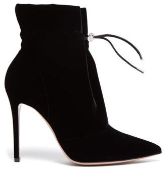 Gianvito Rossi Drawstring 105 Velvet Ankle Boots - Womens - Black