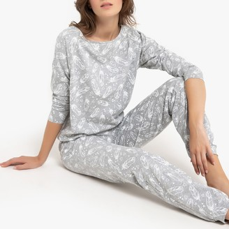 La Redoute Collections Cotton Feather Print Pyjamas with Long Sleeves