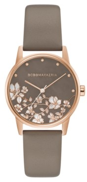 BCBGMAXAZRIA Ladies Round Gray Genuine Leather Strap Watch, 35mm
