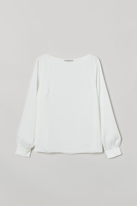 H&M Satin Boat-necked Blouse - White