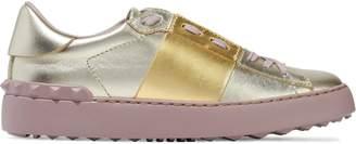 Valentino Garavani Studded Two-tone Metallic Leather Sneakers