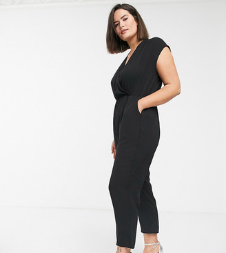 Only Curve wrap jumpsuit in black