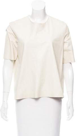 The Row Leather Short Sleeve Top