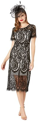 Unique Vintage 1920s Floral Lace Georgine Flapper Dress (Beige/Black) Women's Clothing