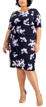 Connected Plus Size Floral-Print Side-Ruched Sheath Dress