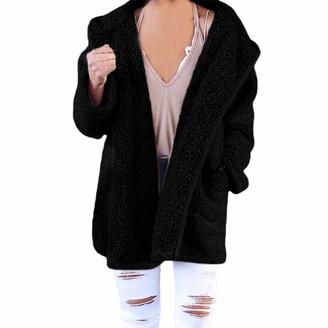 Pingtr Women's Teddy Fleece Hooded Cardigan with Pocket