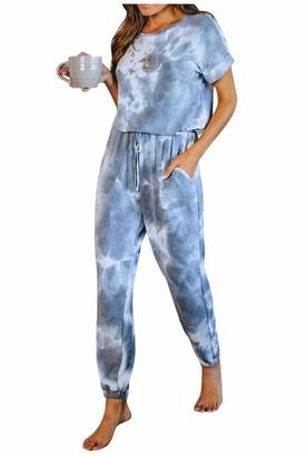 URMOSTIN Women Short Sleeve Round Neck Casual Tie Dye Printed Palysuit Loungewear Set with Pockets Light Blue