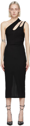 Thierry Mugler Black Single Shoulder Mid-Length Dress