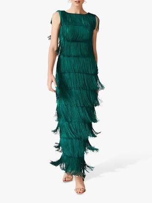 Phase Eight Ismay Fringe Maxi Dress, Jade