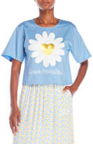 Love Moschino Sequin Flower Cropped Blouse