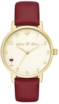 Kate Spade Women's Metro Wine And Dine Leather Strap Watch, 34Mm
