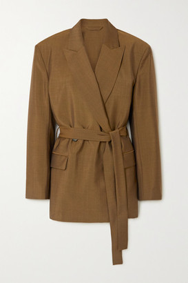 Acne Studios Belted Wool And Mohair-blend Blazer - Brown