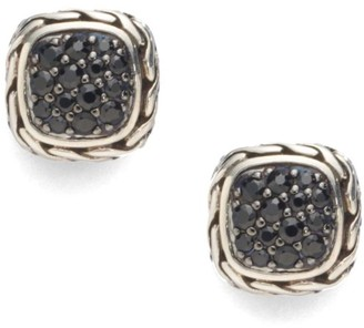 John Hardy Classic Chain Black Sapphire & Sterling Silver Small Square Earrings