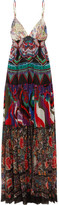 Roberto Cavalli Printed Silk-georgette Maxi Dress - Purple