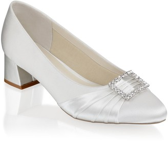 Linzi Paradox London Britney Ivory Wide Fit Low Heel Court Shoes