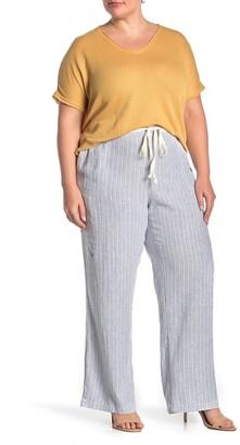 Caslon Drawstring Waist Linen Blend Pants (Plus Size)