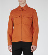 Reiss Reiss Horizon - Cotton And Linen Jacket In Brown
