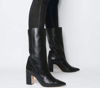 Office Karma Calf Block Heel Boots Black Leather