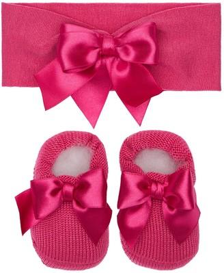 La Perla Cotton Knit Headband & Socks W/ Bows