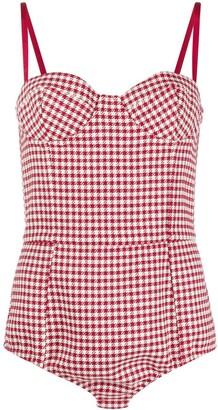 RED Valentino Houndstooth-Pattern Bustier Bodysuit
