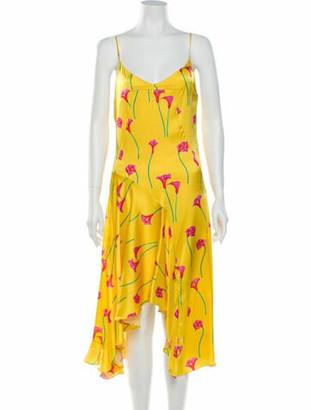 Caroline Constas Silk Midi Length Dress Yellow