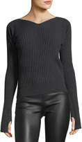 Helmut Lang Double-Rib V-Neck Thumbhole Sweater