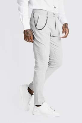 boohoo Stripe Chain Detail Smart Trouser