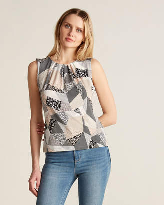 Calvin Klein Mixed Print Pleated Neck Sleeveless Top